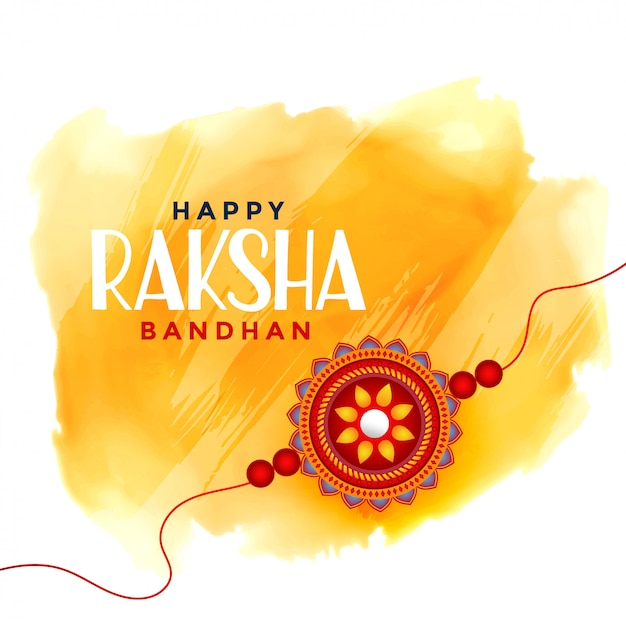 Happy raksha bandhan watercolor background Free Vector