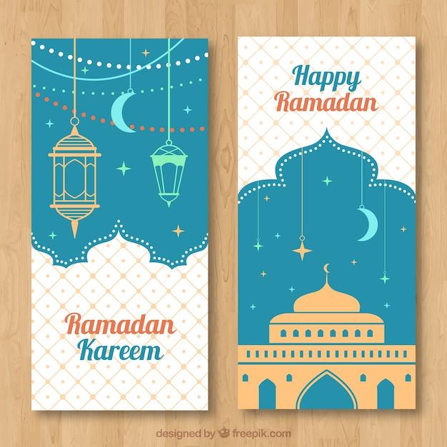Happy ramadan banner with arabic lamps