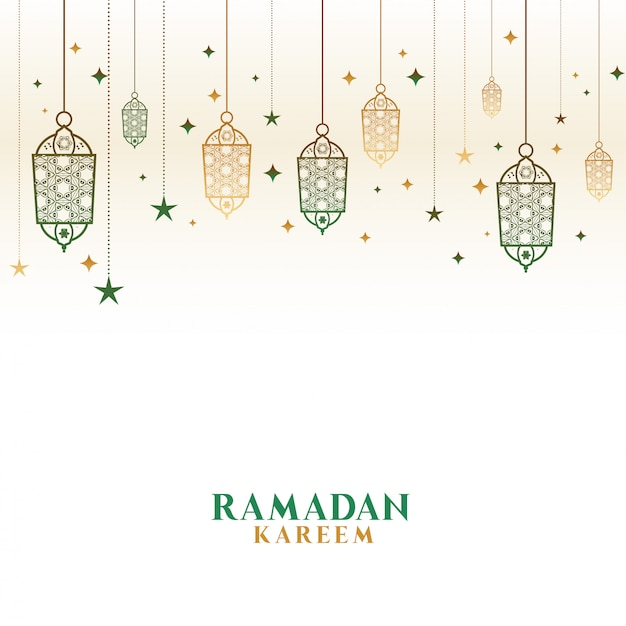 Happy ramadan kareem decorative islamic lamps background Free Vector