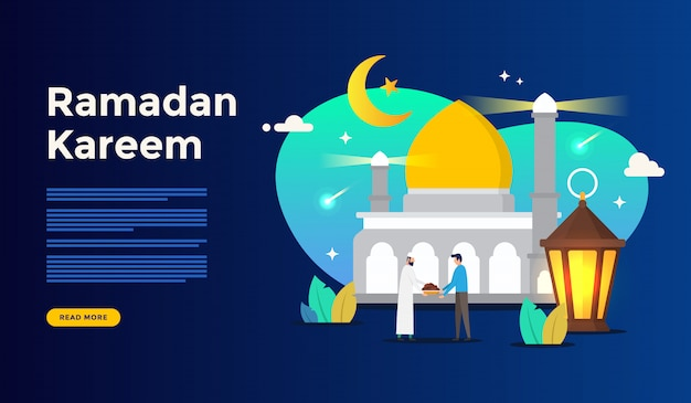 Happy ramadan kareem greeting concept with people character for web landing page template Premium Vector
