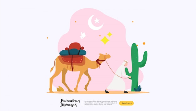 Happy ramadan mubarak greeting concept with people character Premium Vector