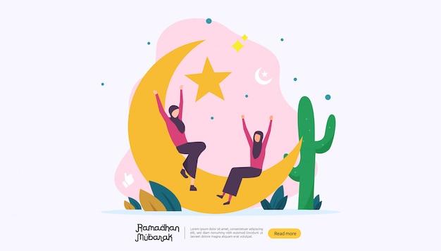 Happy ramadan mubarak greeting concept with people character Premium Vector
