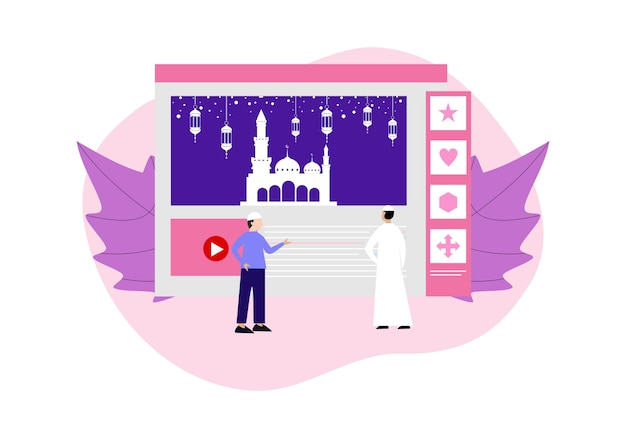 Happy ramadhan mubarak greeting with character people Premium Vector
