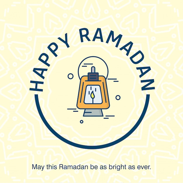 Happy ramdan typogrpahy with elegent design vector Premium Vector