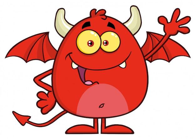 Happy red devil cartoon character waving Premium Vector