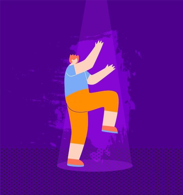 Il dancing felice del ragazzo dai capelli rossi si diverte al night-club Vettore gratuito