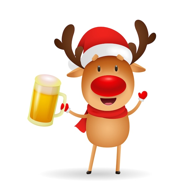 Happy reindeer with red nose holding beer mug Free Vector
