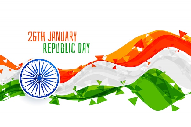 Happy republic day abstract indian flag Free Vector