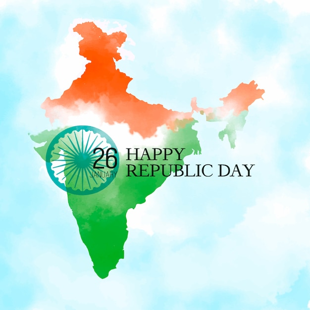 Happy Republic Day Background With Indian Map Vector Free Download