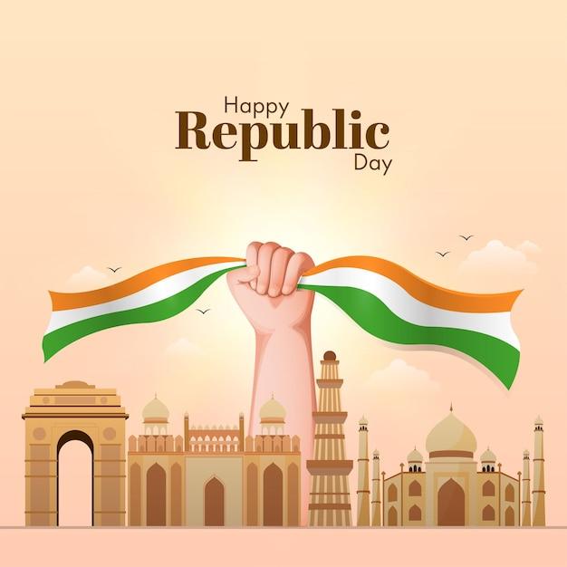 Счастливый день республики концепция с рукой, держащей трехцветную ленту и известные памятники индии Premium векторы
