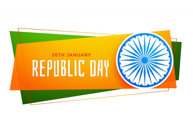 Happy republic day india banner in tricolor Free Vector
