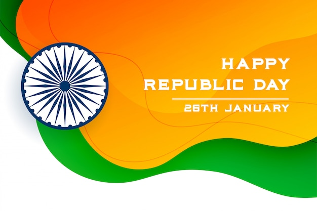 Happy republic day of india creative banner Free Vector