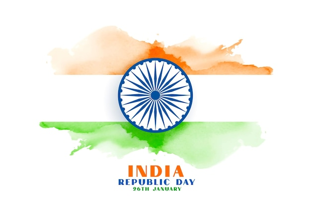 Happy republic day india watercolor flag Free Vector