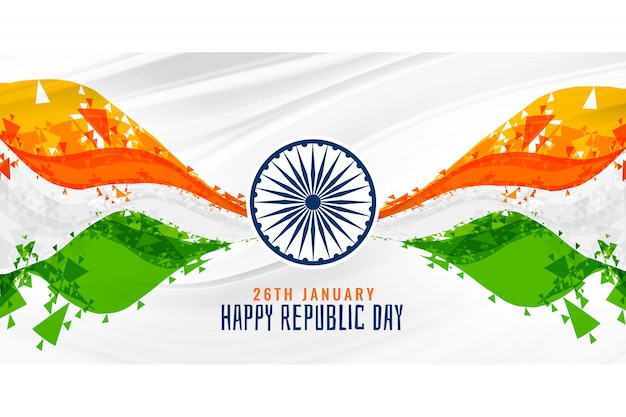 Happy republic day indian abstract flag banner background Free Vector