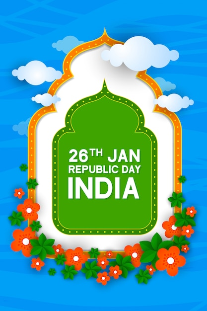 Happy republic day indian festival poster Premium Vector