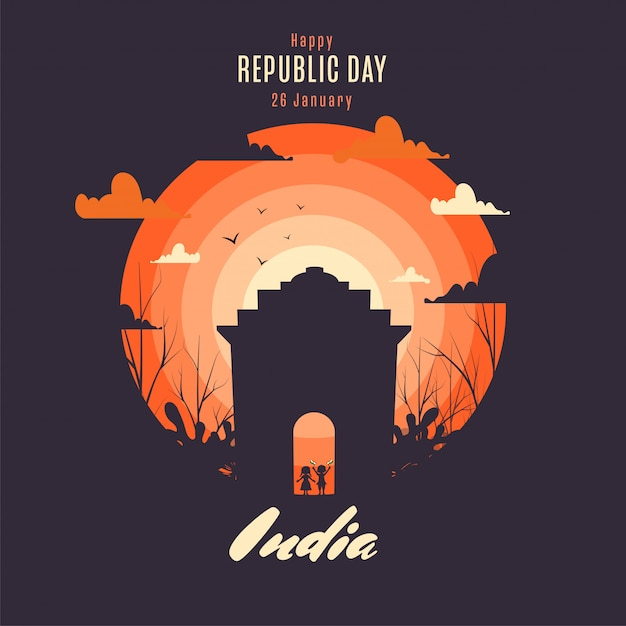 Happy republic day poster design with silhouette kids holding indian flag Premium Vector