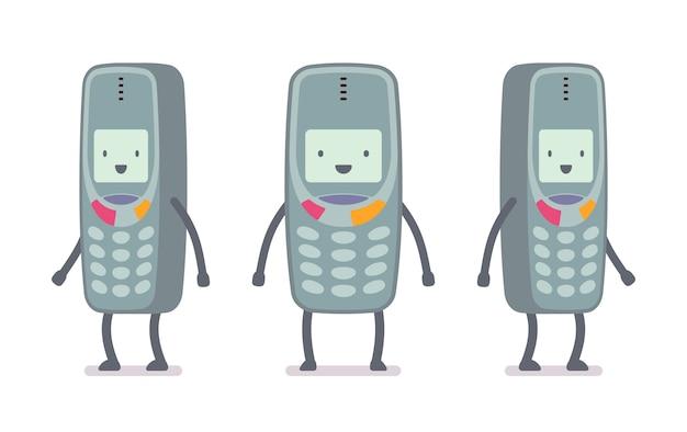 Happy retro cell phone Premium Vector