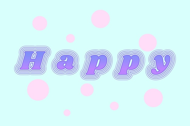 Happy retro font with dots Free Vector