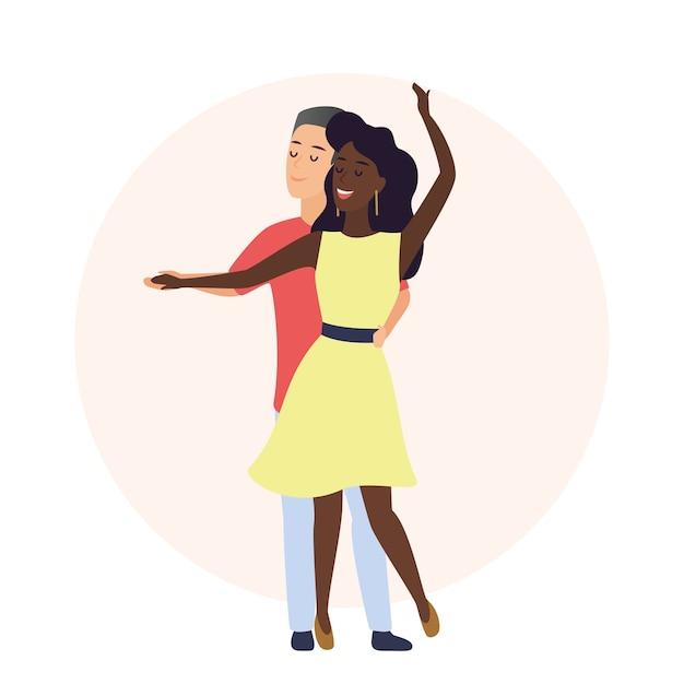 행복 한 로맨틱 백인 남자와 아프리카 계 미국인 여자. 프리미엄 벡터