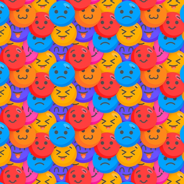 Happy and sad emoticons pattern template Free Vector