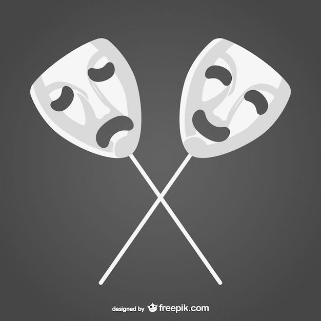 Happy and sad white masks Free Vector
