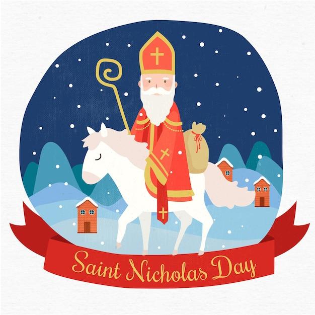 白い馬の幸せな聖ニコラスの日 Premiumベクター