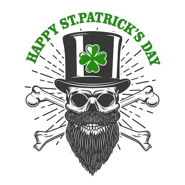 Happy saint patrick day. irish leprechaun skull with clover.  element for poster, t-shirt, emblem, sign.  illustration Premium Vector