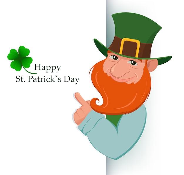Happy saint patrick's day. cartoon happy leprechaun Premium Vector