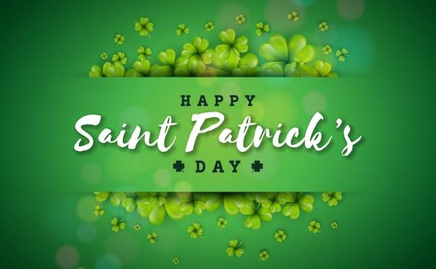 緑の背景にクローバーの葉と幸せな聖パトリックの日デザイン。 無料ベクター