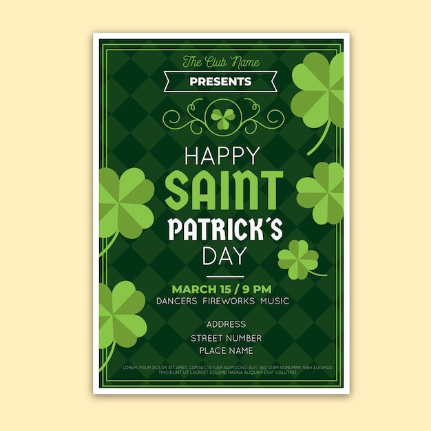 Happy saint patrick's day party poster with green clovers Free Vector