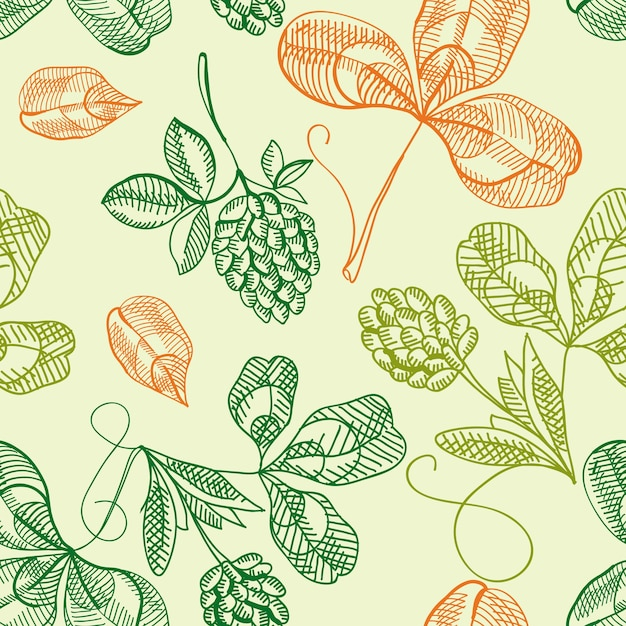 Happy saint patricks day seamless pattern with hand drawn shamrock and four leaf clover Free Vector