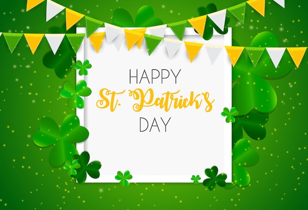 Happy saint patricks day with clover leaves greeting card Premium Vector