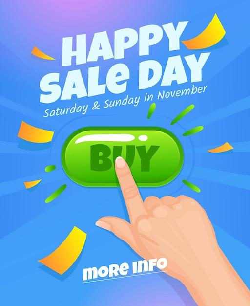 Happy sale day for mobile app banner discount banner design website sale poster design for print or