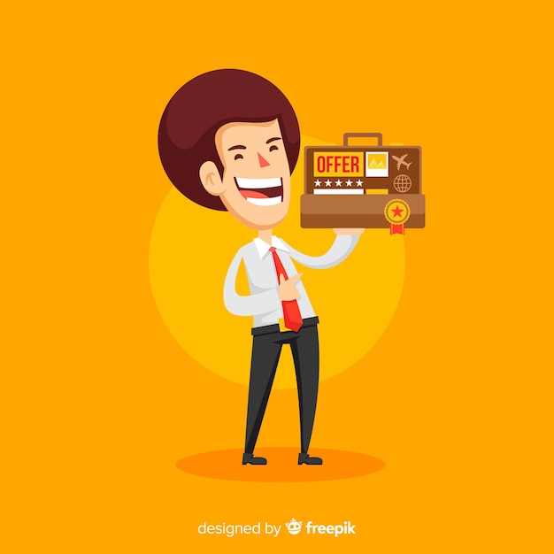 Happy salesman character with flat design Free Vector