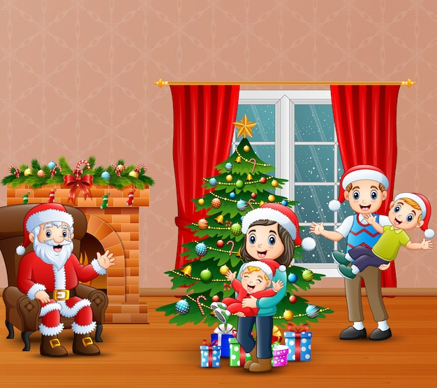 Happy santa calus with family celebration a christmas at home Premium Vector