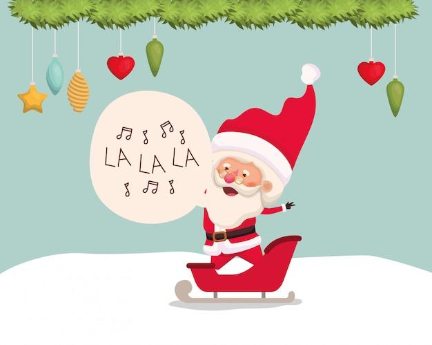 Happy santa claus in carriage Free Vector