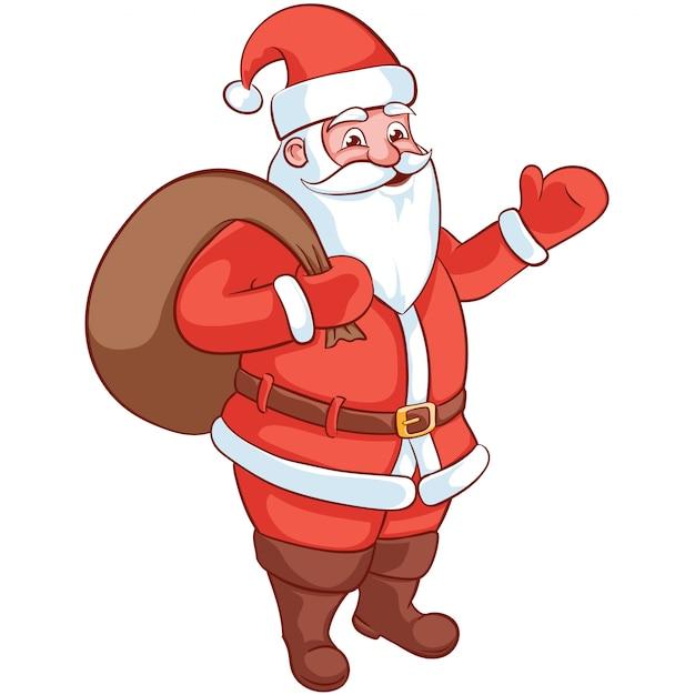 Счастливый мультяшный персонаж санта-клауса. рождественские векторные иллюстрации Premium векторы