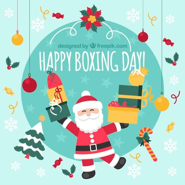happy santa claus with gifts and christmas elements free vector - Santa Claus Gifts