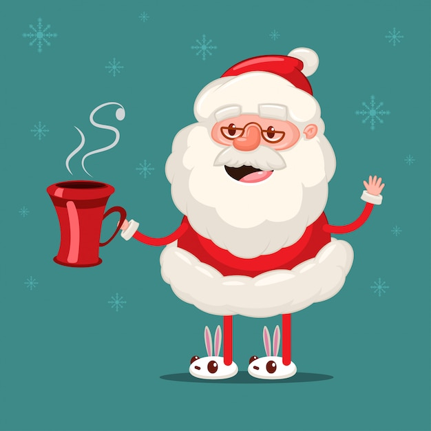 Happy santa claus with red coffee cup. vector christmas cartoon character isolated on snowflakes Premium Vector