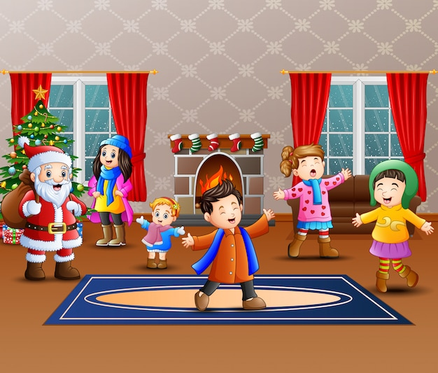 Happy santa claus with some kids in the home Premium Vector