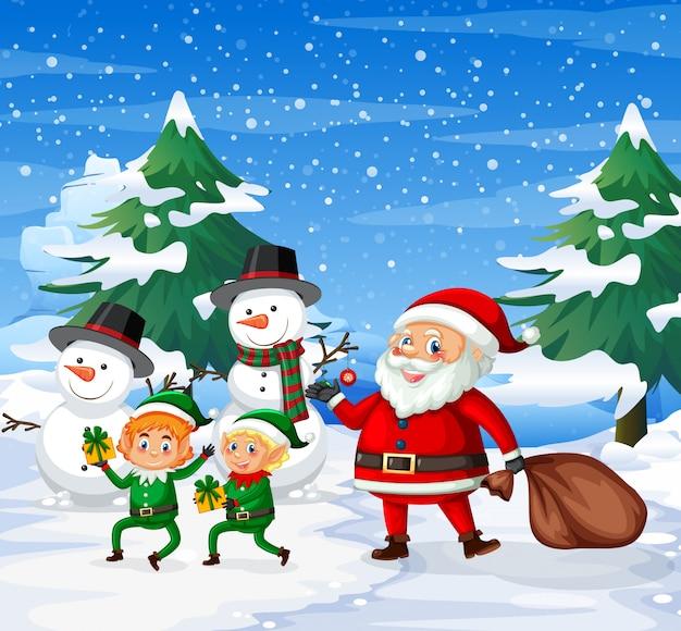 Happy santa and elf ourdoor background Premium Vector