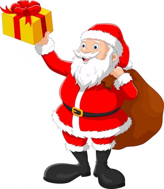 Happy santa with sack Premium Vector