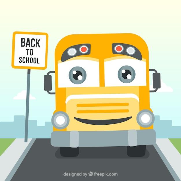 Happy school bus background