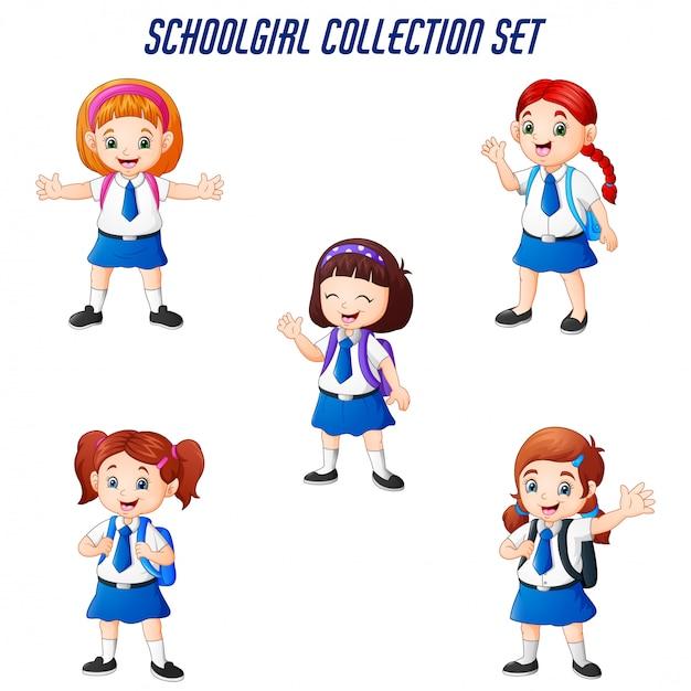 Happy school girls in different posing set Premium Vector