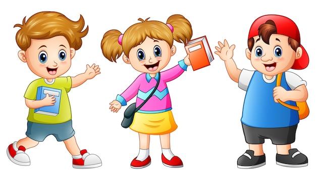 Happy school kids cartoon Premium Vector