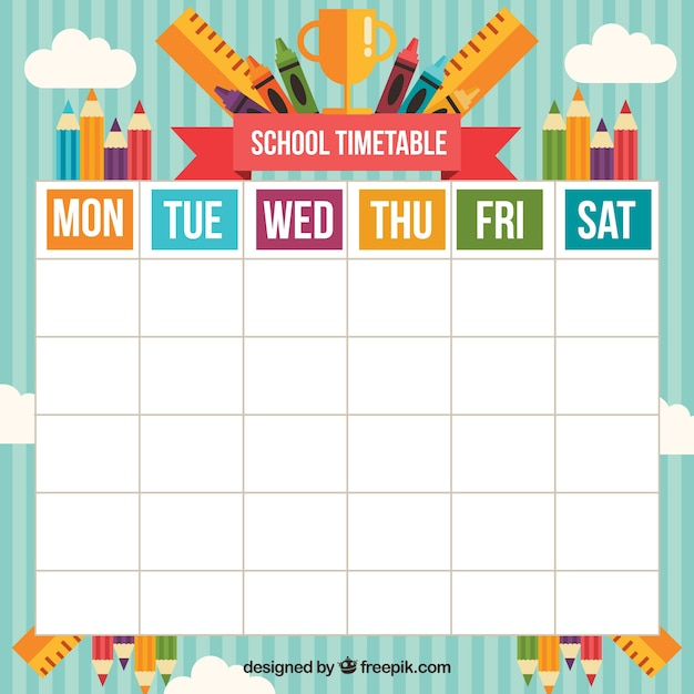 Happy school timetable with varied materials