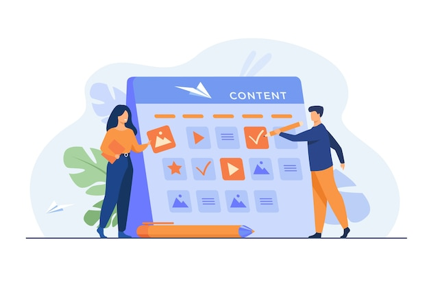 Happy seo planning campaign for social media isolated flat illustration. Free Vector