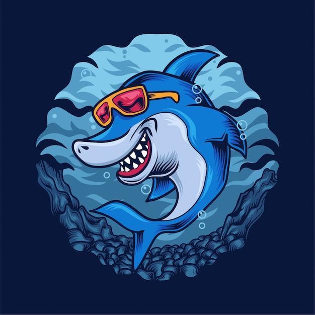 幸せなサメの図 Premiumベクター