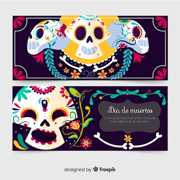 Happy skull faces hand drawn banners Free Vector