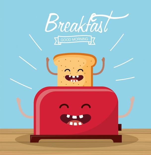 Счастливый нарезанный хлеб с оружием и тостером Premium векторы